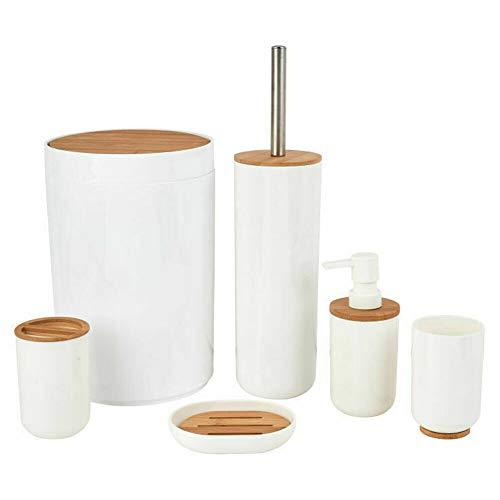 Set da Bagno in Legno Bamboo e Plastica 6pz con Portascopino Portasapone Pattumiera Colore Bianco e bambù Naturale