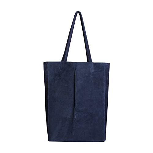 SKUTARI® CUERO RUVIDO Vittoria shopper para mujer de ante, bolso de mano de piel con bolsillo interior cosido, bolso de mano, bolso de mano con asas largas - MADE IN ITALY