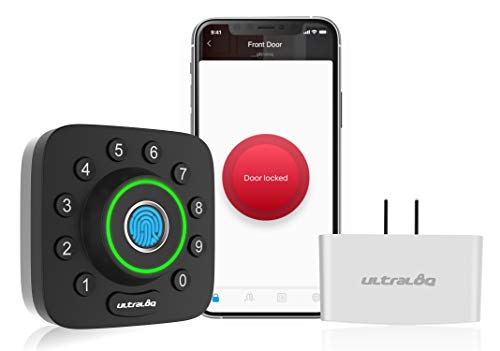 ULTRALOQ U-Bolt Pro Smart Lock + Bridge WiFi Adaptor, 6-in-1 Keyless Entry Door Lock with WiFi, Bluetooth, Biometric Fingerprint and Keypad, Smart Door Lock Front Door, Deadbolt Lock Edition