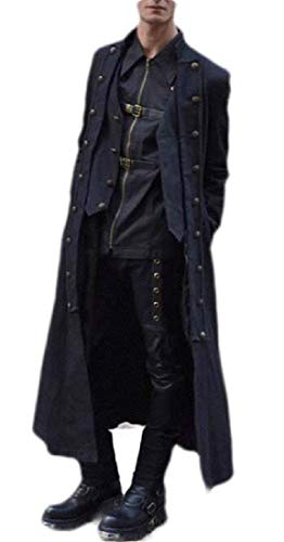 GRMO Men Costumes Lace Up Victorian Steampunk Frock Medieval Gothic Coat Black US XL