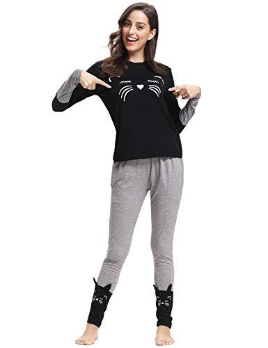 Aibrou Ensemble Pyjama Femmes Coton Manche Longue Vêtements de Nuit pour Toutes Les Saisons,...