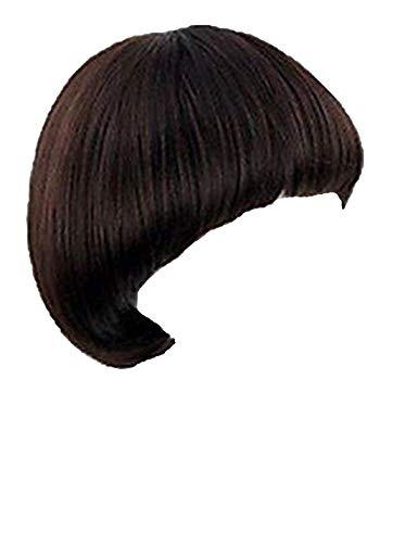 wonderful lifetime Women's Short Black Full Bang Wig Mushroom Hairstyle Cosplay/daily Heat Resistant Hair Wig, Medium