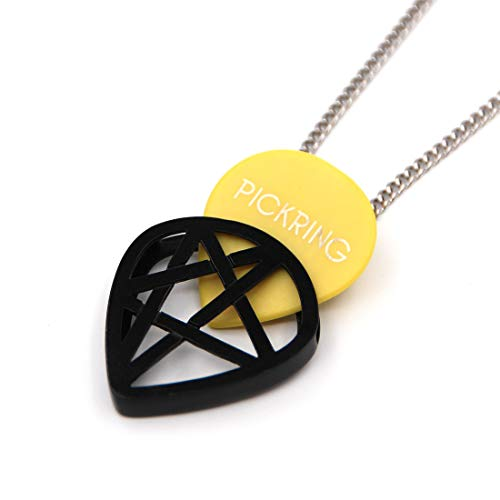 PICKRING (JAZZ SIZE) Star Shaped Guitar Pick Holder Necklace for Guitarists/guitar picks keeper storage pendant necklace stainless steel music lover gifts (Black)