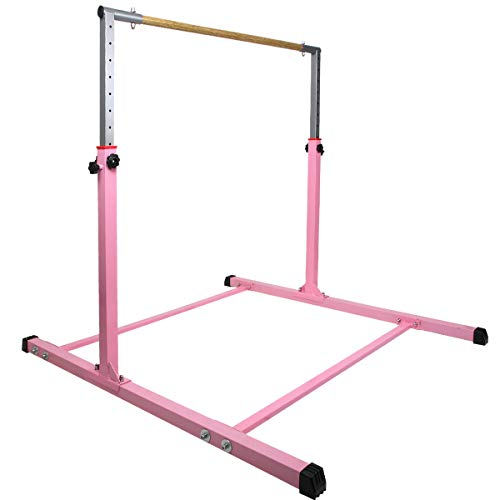 Slsy Gymnastics Training Bars Expandable Horizontal Kip Bars for Gymnasts 1-4 Levels, Horizontal Bars with Adjustable Height for Home Gym Practice (Pink)