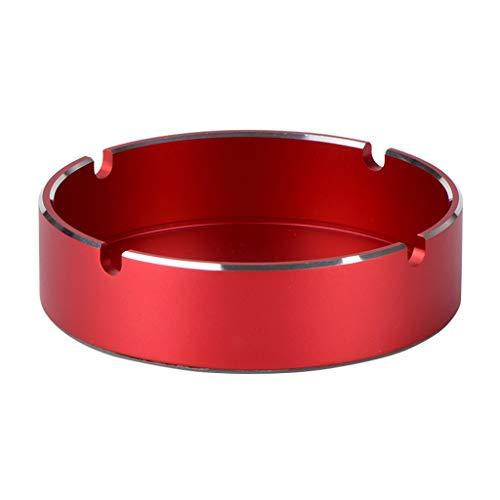 Igemy Beständiger Runder Design Aluminiumlegierung Aschenbecher mit Hoher Temperaturbeständigkeit (Rot)