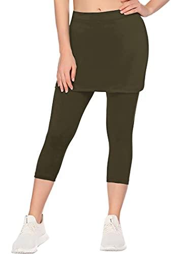 COOrun Women Capri Leggings with Skirt Attached Capri Pants Skirted Leggings Workout Skapri Tennis Skorts Army Green L