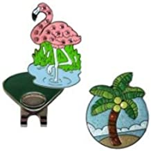 Navika Flamingo Crystal and Palm Tree Glitzy Ball Marker Combo with ONE Magnetic Hat Clip