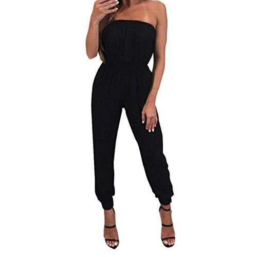 Jushye Womens Jumpsuit,Strapless Off Shoulder Casual Evening Party Playsuit Long Pants (Black, M)