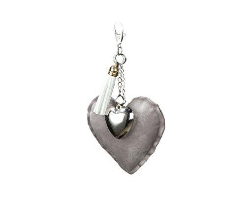 Taschenanhänger mit Karabinerhaken Stoff-Herz mit kleinem Metallherz, Valentinstag, Hochzeit (hellgrau)