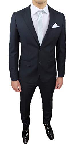 Evoga Abito Completo Uomo Sartoriale Class Elegante Vestito Smoking Cerimonia (54, Nero)