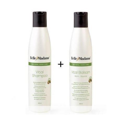Echthaar Perücken Pflegeset Shampoo 200ml + Balsam 200ml Dening Hair Belle Madame für Echthaarperücken , Haarverängerungen, Extensions, Bondings, Toupets
