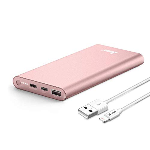poweradd portable phone chargers BONAI Portable Charger, (Aluminum)(Powerful) 12000mAh Power Bank, USB C High-Speed 3.0A Input/Output External Battery Pack Compatible with iPhone iPad Samsung Android-Blush Gold