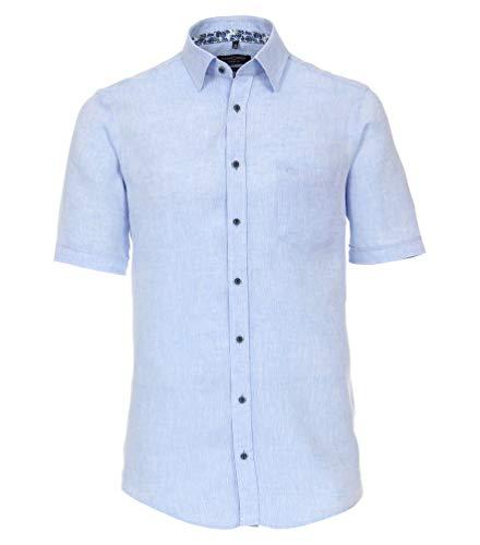 Casa Moda - CasualFit - Herren Freizeit Leinen Hemd Kurzarm (913655700), Größe:L, Farbe:Blau (100)