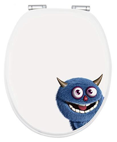 Calmwaters® WC Sitz Monster Hörnchen, Absenkautomatik, Fast-Fix-Befestigung aus Metall, universale O-Form, stabiler Holzkern Toilettendeckel, Komfort Toilettensitz lustig - 26LP2839
