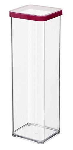Rotho Loft quadratische Vorratsdose 2l mit Deckel und Dichtung, Kunststoff (SAN) BPA-frei, transparent/rot, 2l (10,0 x 10,0 x 28,5 cm)