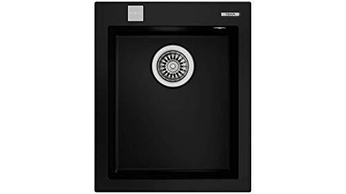 Teka 115230010 - Fregadero de cocina hecho de granito (granito) con un solo cuenco Forsquare 30.40-negro-115230010, color negro