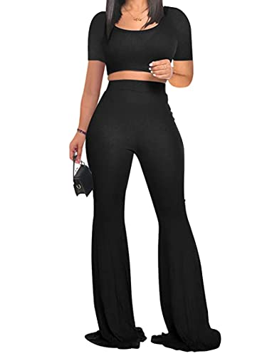 DeuYeng Conjunto de 2 piezas de verano para mujer, cuello redondo, manga corta, pantalones acampanados de cintura alta