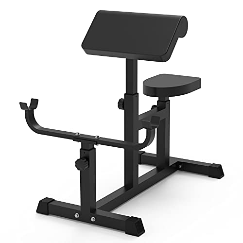 Uboway Adjustable Arm Preacher Curl Weight Bench - Adjustable Roman Chair for Upper Limb Muscle Strength Training Fitness Back Machines, Isolated Barbell Dumbbell Biceps Station