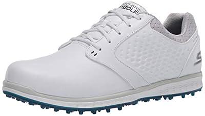 Skechers Go Golf Women's Elite 3 Spikeless Waterproof Golf Shoe, White/Navy Leather, 10 M US