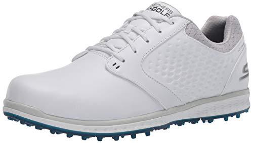 Skechers Women's Elite 3 Spikeless Waterproof Golf Shoe, White/Navy Leather, 9 M US