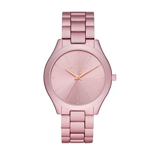 Michael Kors Women's Slim Runway Quartz Watch with Metal Strap, Pink, 20 (Model: MK4456)