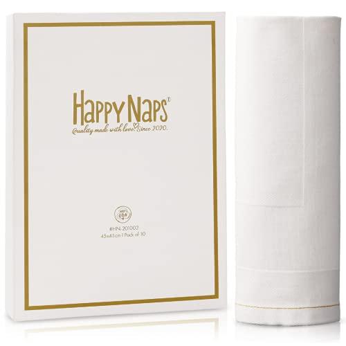 HappyNaps® Servilletas de Tela Blanco DAMAST, servilletas de Tela 100% algodón con Costuras Doradas y orillo, 45x45cm [Juego de 10], servilleta de Tela Lavable hasta 60°C | 100% Libres de plástico