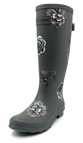 Rongee Women's Rubber Rain Boots Garden Tall Rainboots Ladies Waterproof Rose Floral (8 B(M) US)