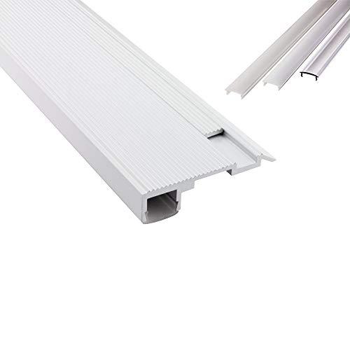 B-WARE - T-STA LED Alu Treppenprofil Treppenwinkel Profil Stufen weiss + Abdeckung Abschlussleiste Fliesen für LED-Streifen-Strip 2m klar