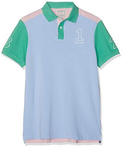 Hackett London Herren Poloshirt Archive 1234, Mehrfarbig (Sky/Multi 5BH), Large (Herstellergröße:L)