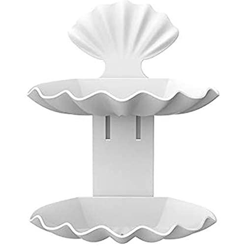 Plato de drenaje doble de la taza del jabón,Contenedor de plástico de perforación libre Seashell doble capa,Accesorios de baño Caja de almacenamiento Palet