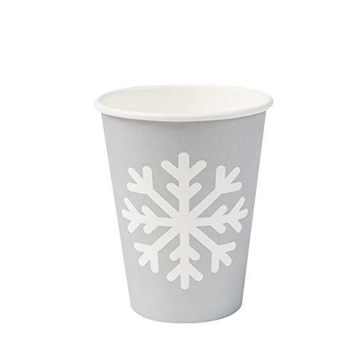 BIOZOYG Bio Gobelets Café jetable Motif d'hiver Flocon I 50 Gobelets Gris 300 ML / 12 oz I Vaisselle jetable ecologique, compostable et biodégradable