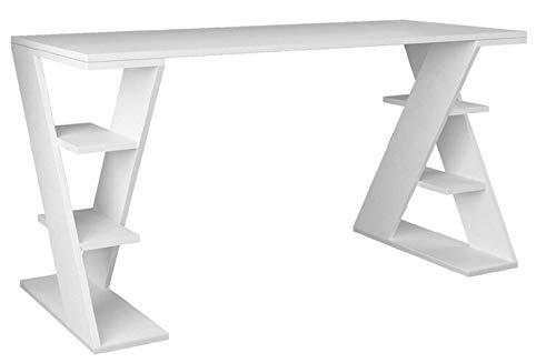 Woodlab Sheesham Study Desk (Metal Finish, White)