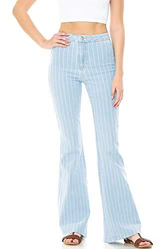 Cello Jeans Women's Juniors High Rise Stretchy Retro Flared Bell Bottoms (5, Stripe Light Denim)