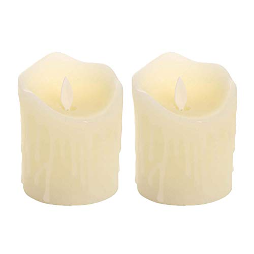 FLAMEER 2pcs Candela di Plastica Realistica LED Candela Fiamma Oscillante Alimentato A Batteria Senza Fiamma LED Luce di Candela Ambra