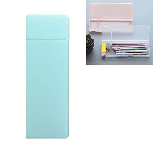 HUANGMENG Efectos de escritorio transparente simple caja de lápiz de los efectos de escritorio de oficina esmerilado de plástico lápiz Plumas Caja de almacenamiento Suministros (verde menta Pe