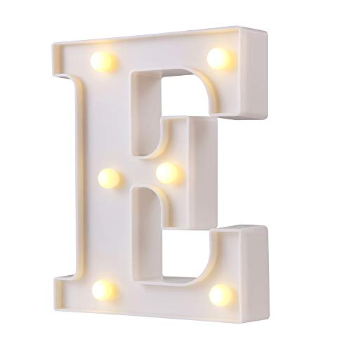 Luces LED para letras de marquesina, 26 letras del alfabeto con luz, perfecto para la luz de noche, boda, cumpleaños, fiesta, decoración del hogar, lámpara de Navidad (blanco, E)