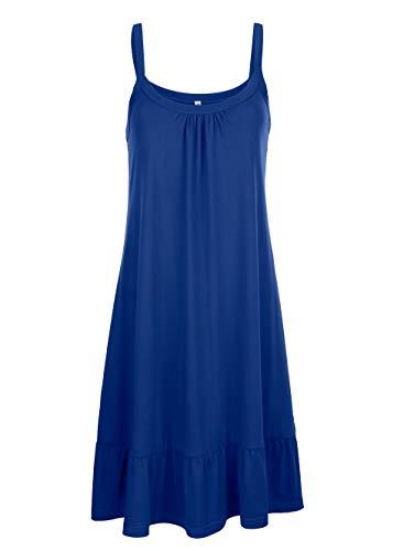 Maritim Damen Lässiges Knielang Kleid in Royalblau aus Baumwolle