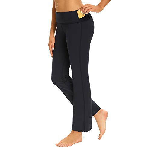 Bootcut Yoga Sports Legging High Waisted Full Length Bootleg Pants for Workout Navy, Small