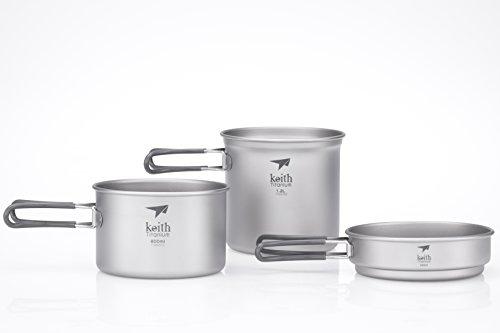 Keith Titanium Ti6014 3-Piece Pot and Pan Cook Set
