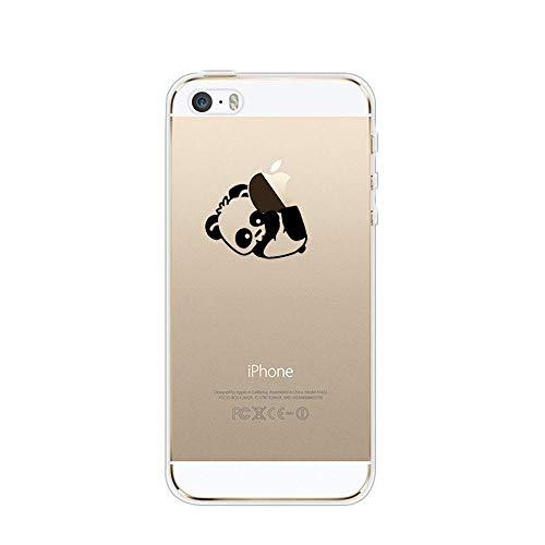 Karomenic Silikon Hülle kompatibel mit iPhone SE/5S/5 Kreative Cartoon Transparent Handyhülle Durchsichtig Schutzhülle Crystal Clear Weiche Soft TPU Tasche Bumper Case Etui,Panda#7