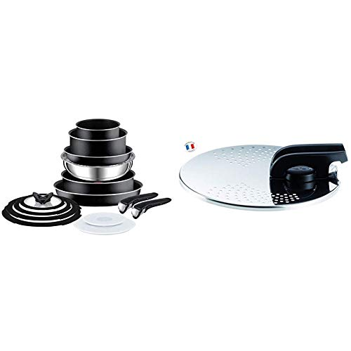 Tefal L2009542 Ingenio Essential 14 Piece Pots and Pans Set, Black- Not Compatible with Induction hob & Ingenio Universal Stainless Steel Straining Lid with Saucepans