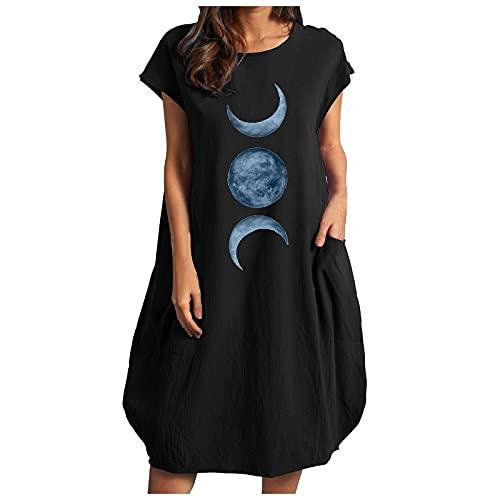 Vestido de verano para mujer de algodón y lino, con estampado de lunas, tamaño grande, holgado, color puro, minivestido, para verano, informal, vestido de fiesta, Negro , XL