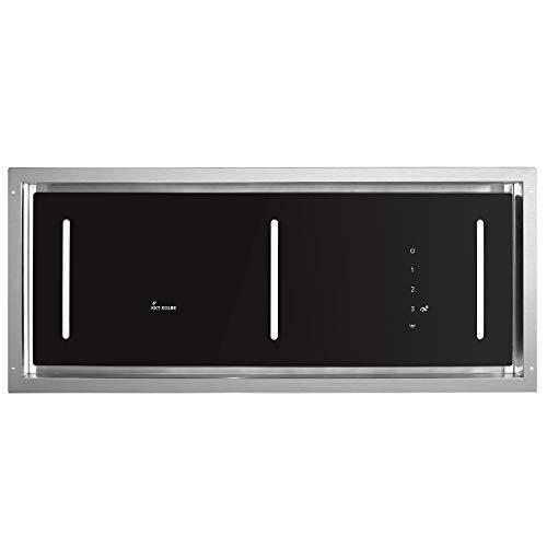 KKT KOLBE Decken-Einbau-Dunstabzugshaube/Lüfterbaustein / 90cm / Edelstahl / 4 Stufen/schwarzes Glas/LED-Beleuchtung/SensorTouch Steuerung/Abluft oder Umluft / INTEGRA606