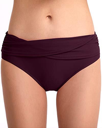 HAIVIDO Damen-Badehose, volle Abdeckung, gerüscht, Hipster, Bikinihose, Tankini, Badeanzug, Slip, Shorts - Violett - 42-44