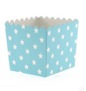 6 Schicke Hellblaue Snack-Schachteln mit Weißen Sternchen