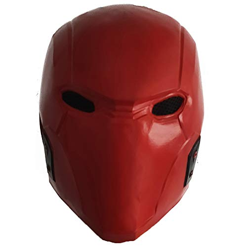ZMJ Red Hood Helmet Latex Mask DC Batman: Under The Red Hood Superhero Cosplay Accessory Masquerade Deluxe Props