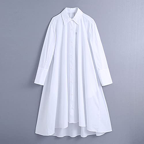 SHENSHI Women Dresses,Turn Down Collar Office Wear Long Sleeve Loose Midi Dress,White,Small