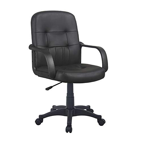 GIZZA Modern Mid Back Support Office Chair Black Grey Faux Leather High Adjustable for Computer Desk Workstation (Black, Model 1)