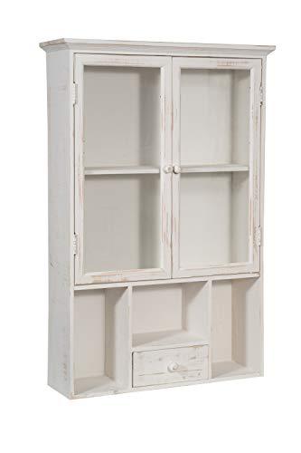 Biscottini vetrina vetrinetta bacheca piattaia espositore in legno bianca shabby a muro da parete da appendere da collezione vintage L60XPR18XH89 CM