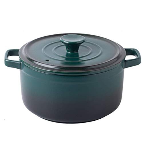 WCNMD Cazuela de cerámica Cacerola Redonda con Tapa pequeña de gres Cocotte Horno Holandés Holado Lento Stef Pot Soursant Ray Resistente a la Arcilla Pot Sopa de cerámica Azul 0.87 l